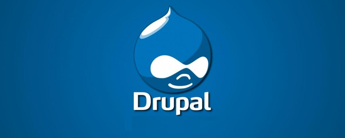 Drupal logo in blue background